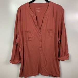 Talbots popover Henley top women's xl button